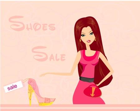 sapato: Fashion girl compras em loja de cal�ados Ilustra��o