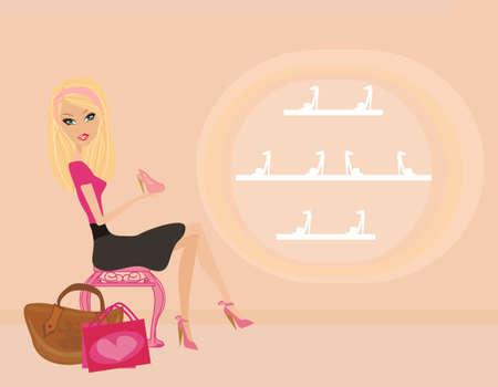 Fashion girl shopping in shoe shop Stock Vector - 12460038