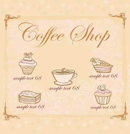 sweet dessert coffee background  Vector