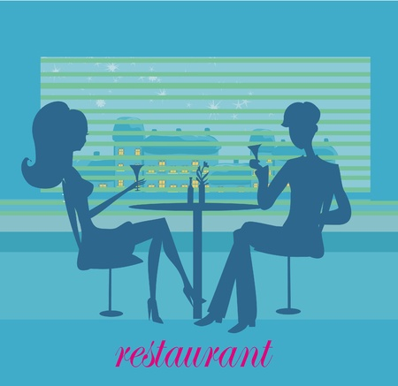dinning: Young couple flirt and drink champagne  Illustration