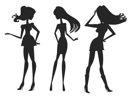 trendy girl: Vector fashion shopping girls silhouettes