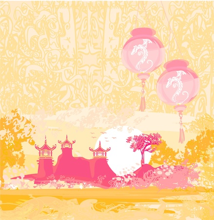 old paper with Asian Landscape and Chinese Lanterns - vintage japanese style background  Stock Vector - 12460062