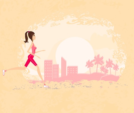 fatness: Jogging girl in city
