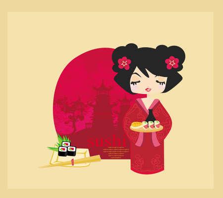 beautiful Asian girl enjoy sushi - menu template  Vector