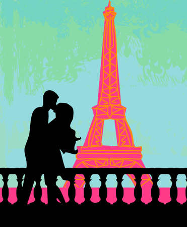 seine: Romantic couple in Paris kissing near the Eiffel Tower  Retro card   Illustration