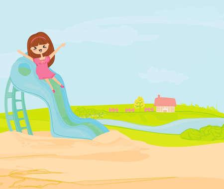Little girl on slide  Vector