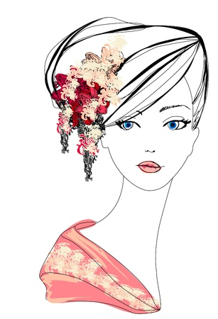 Abstract Beautiful Woman doodle Portrait  Vector