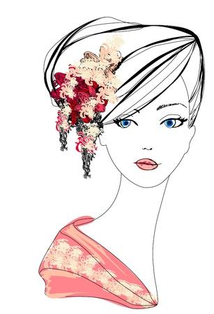 Retrato abstracto dibujo Mujer Hermosa