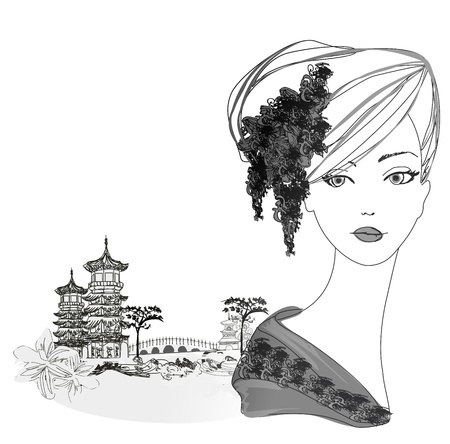 Abstract Beautiful geisha Portrait and asian landscape