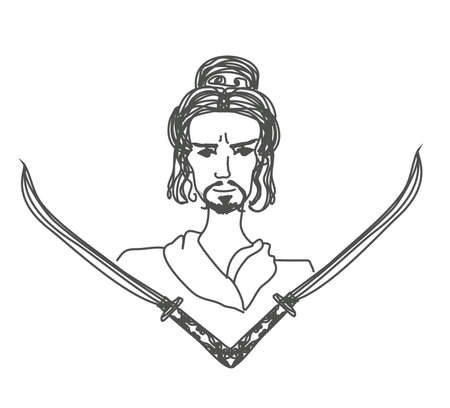samurai with swords - doodle illustration  Vector