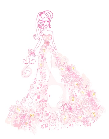 evening church: Abstract Beautiful floral bride
