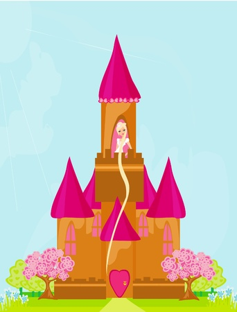 Illustration of princess  in tower waiting for Prince  Illustration