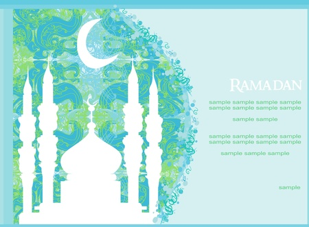 mosque illustration: Ramadan background - mosque silhouette vector card