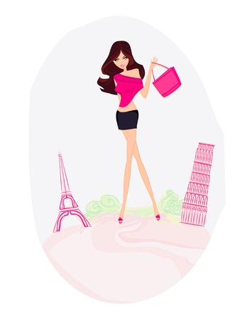 beautiful women Shopping in France and Italy Stock Vector - 12460138