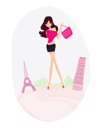 schönen Frauen Shopping in Frankreich und Italien