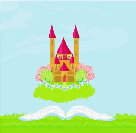 Magic world of tales, fairy castle appearing from the book Stock Vector - 12460184