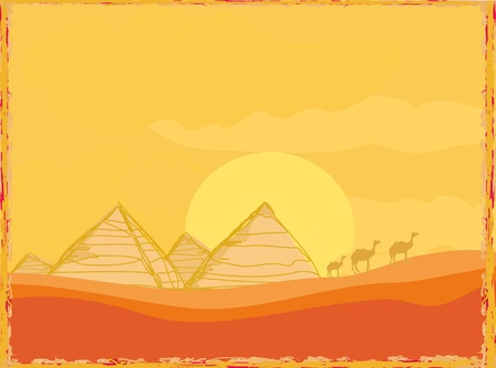 pyramid of the sun: old paper with pyramids giza