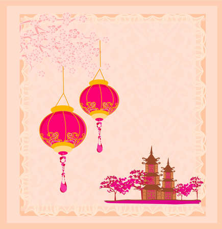 old paper with Asian Landscape and Chinese Lanterns - vintage japanese style background  Ilustracja