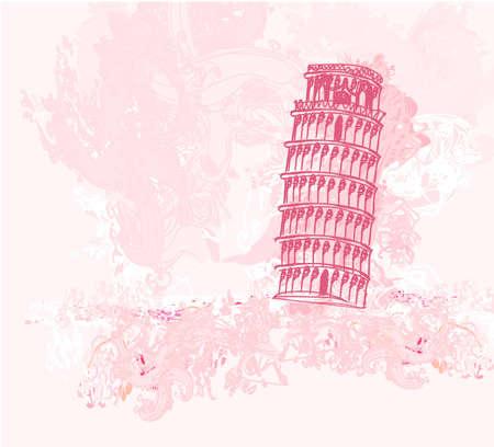 vector pisa tower grunge background  Vector
