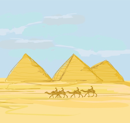 necropolis: old paper with pyramids giza    Illustration