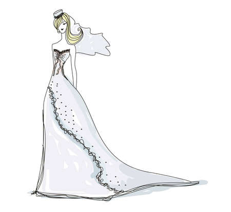 Beautiful bride - doodle illustration  Vector