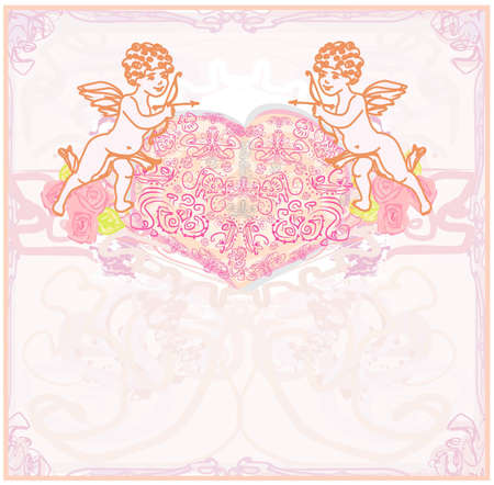 happy valentines day card with cupid  Illustration