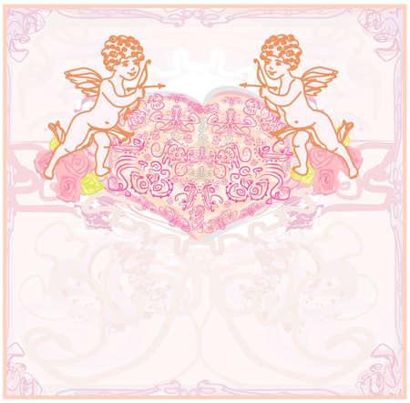 amor: Happy Valentines Day-Karte mit Amor