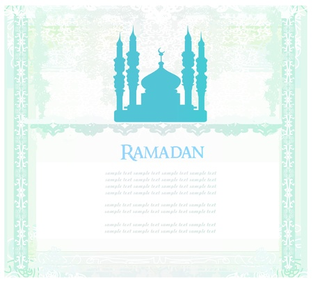 relegion: Ramadan background - mosque silhouette vector card