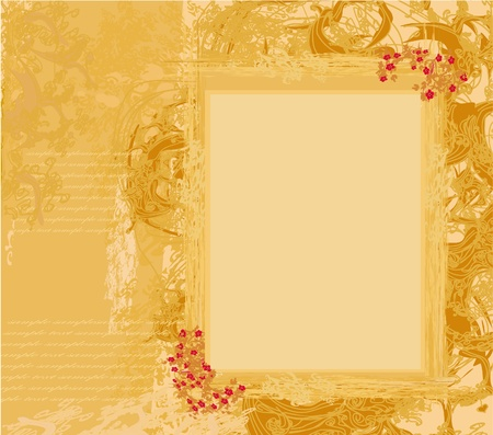 Grunge Frame For Congratulation With Flower  Vector