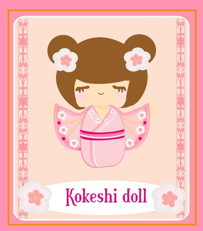 manga style: Kokeshi doll on the pink background with floral ornament