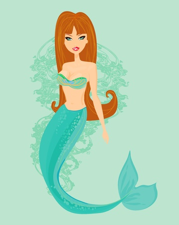 Illustration of a Beautiful mermaid  Vector