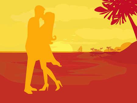 dattelpalme: Silhouette Paar k�ssen am tropischen Strand