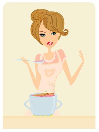 woman eat: Bella dama sopa de cocina