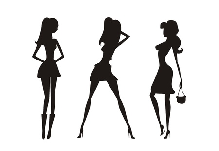 Vector fashion shopping girls silhouettes  Stock Vector - 12460247