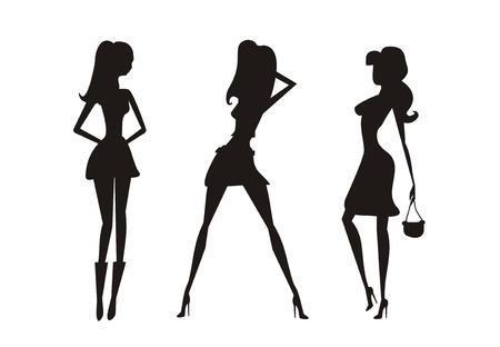 Vector fashion shopping girls silhouettes Stock Vector - 12460247
