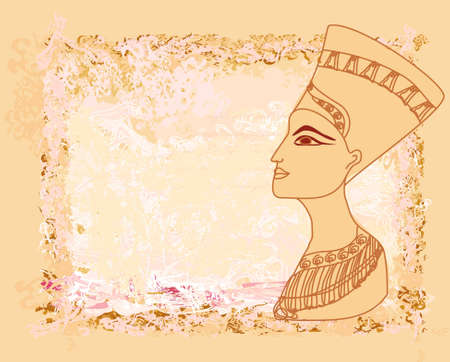 hieroglyphics: old paper with Egyptian queen