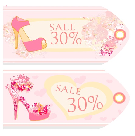 Price Tags With shoes vintage set Stock Vector - 12498186