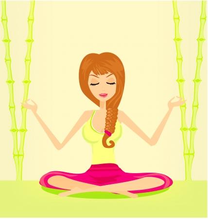 sitting meditation: Yoga girl in lotus position  Illustration