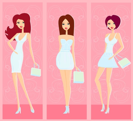 fashion shopping girls  Stock Vector - 12498184