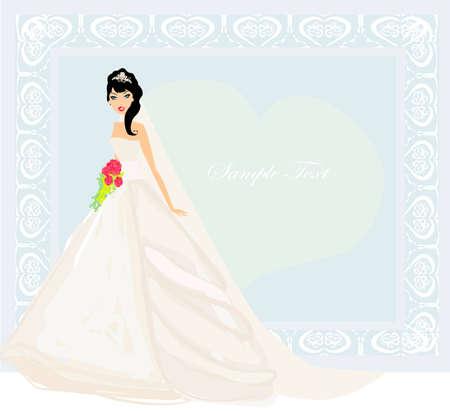 getting a bride: Beautiful bride card  Illustration