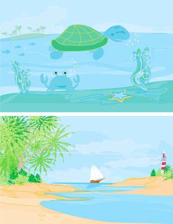 Vector illustration of summer holidays banner set Stock Vector - 12498180