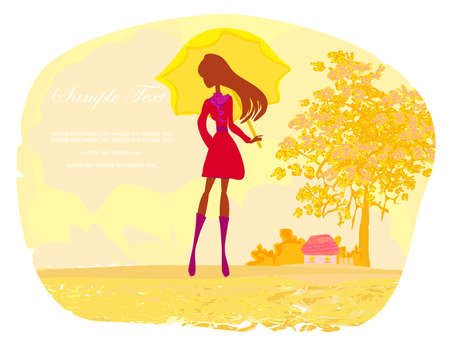 forsythia: stylish woman with umbrella  Illustration