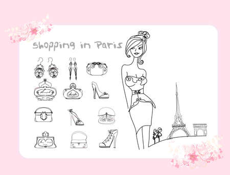Paris fashion doodles set  Vector