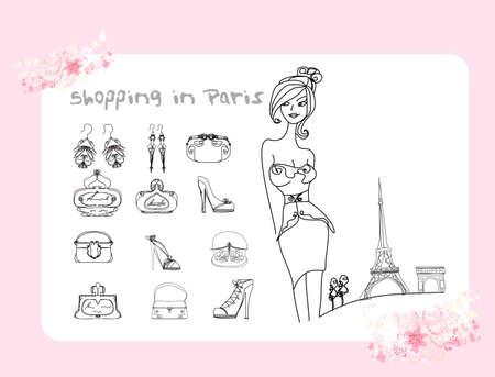 Paris fashion doodles set  Vector