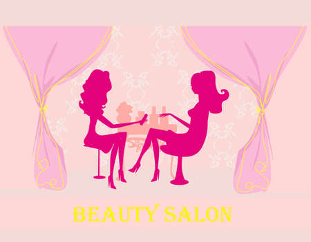 Young lady doing manicure in beauty salon  Stock Vector - 12743867