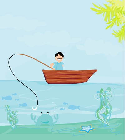 Fisherman catching the fish Vector
