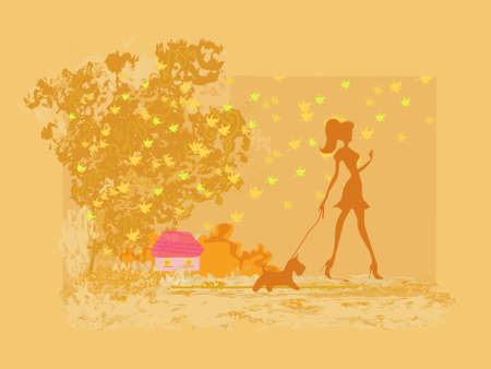 Girl walking with her dog in autumn landscape        Stock Vector - 12743976