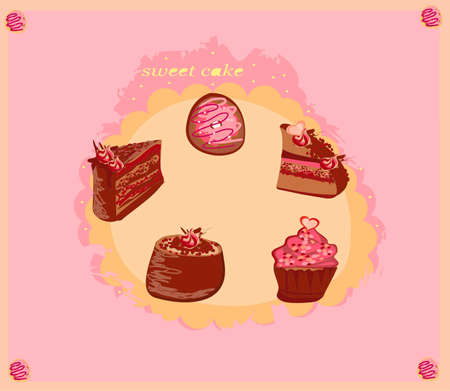 Colorful set of cakes          Vector