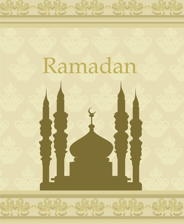 kareem: Ramadan background - mosque silhouette vector card