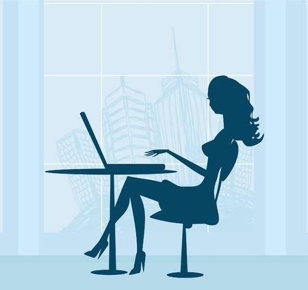 mujeres dinero: Compras en l�nea - mujer joven y sonriente sentado con el ordenador port�til de computaci�n Vectores